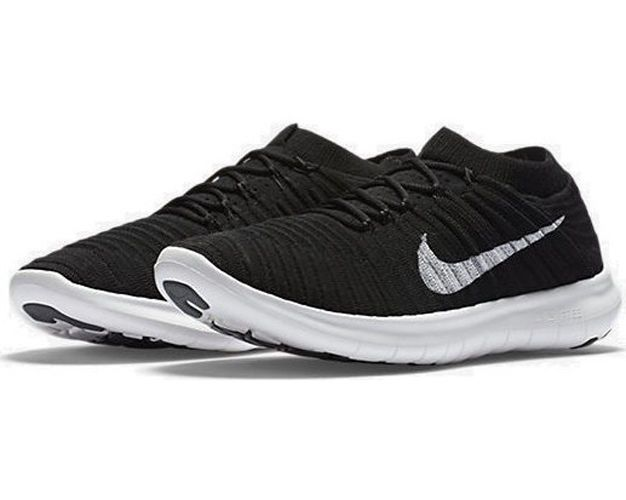 Nike Women's Free RN Motion Flyknit Running Shoes 834585 001 Black/White