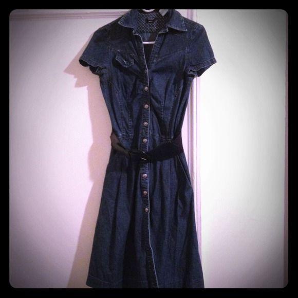 Jean dress by Miss Sixty Cute belted button down jean dress. Dresses