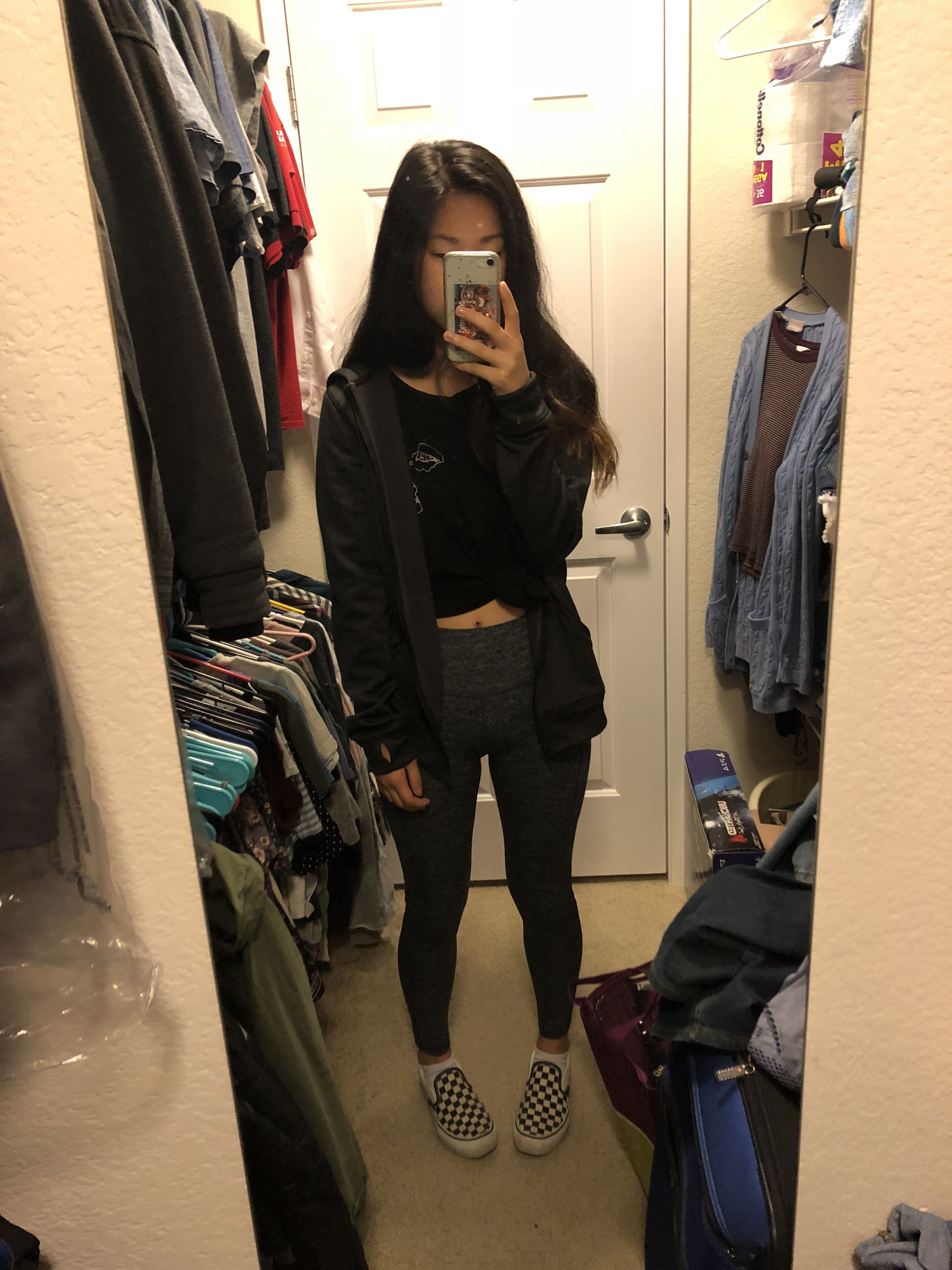 Lazy all black outfit. Brandy Melville graphic tee, zip