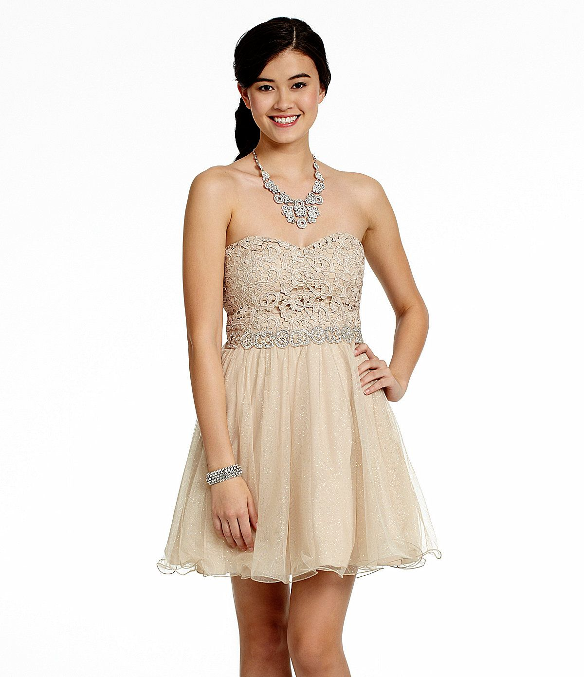 Moh jodi kristopher strapless lace sequin dress dillards