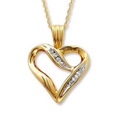 First Christmas Present Heart Necklace Diamond Gold Heart Necklace Diamond Heart