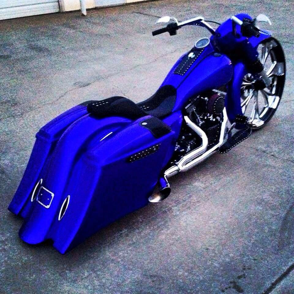 Blue Steel Bagger Motorcycle Custom Street Bikes Harley Bikes
