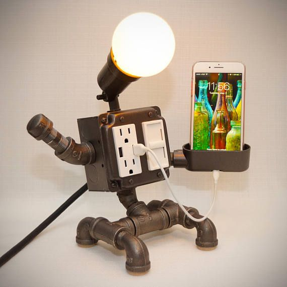 Steampunk Industrial Robot Lamp With Dimmer 2 Usb Charging