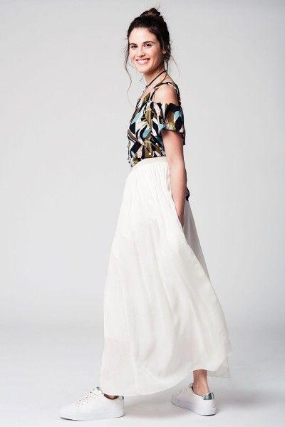 Super Ibiza lange witte rok Een gevoerde lange witte ibiza maxi rok met #MA57