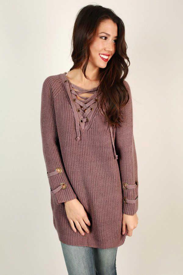 Sugar And Spice Lace Up Sweater In Dusty Purple | Clothing ...