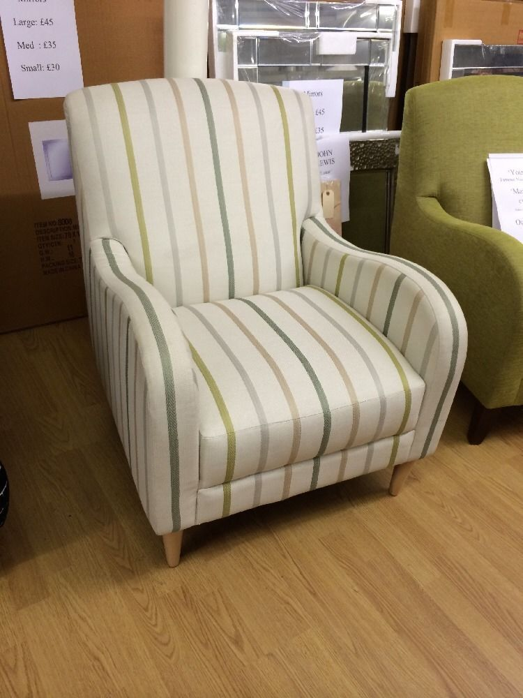 New M&S Maiko Chair / Armchair Cream, Green / Sage Stripe ...