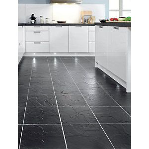 The Wickes Vesuvio Black Matt Ceramic Floor Tile 320x320mm Perfectly