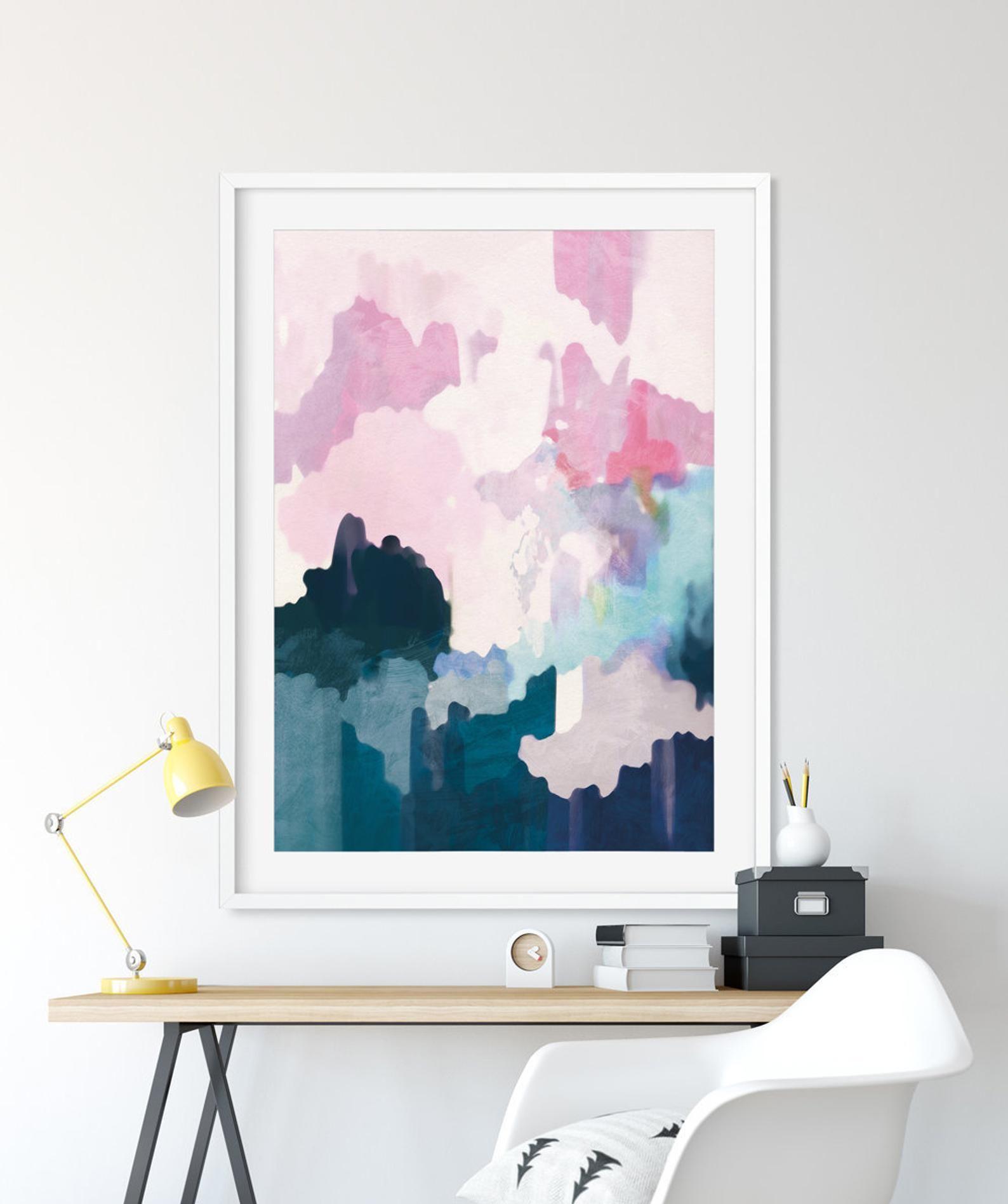 Large Abstract Art Printable Abstract Wall Art 24x36 Print Etsy In 2020 Pink Wall Art Pink Walls Abstract Wall Art