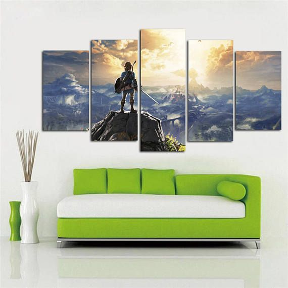 The Legend Of Zelda Canvas Wall Art Breath Of The Wild Nintendo Game Framed 5 Panel Video Game Poster K Kid Room Decor Canvas Wall Art Video Game Posters