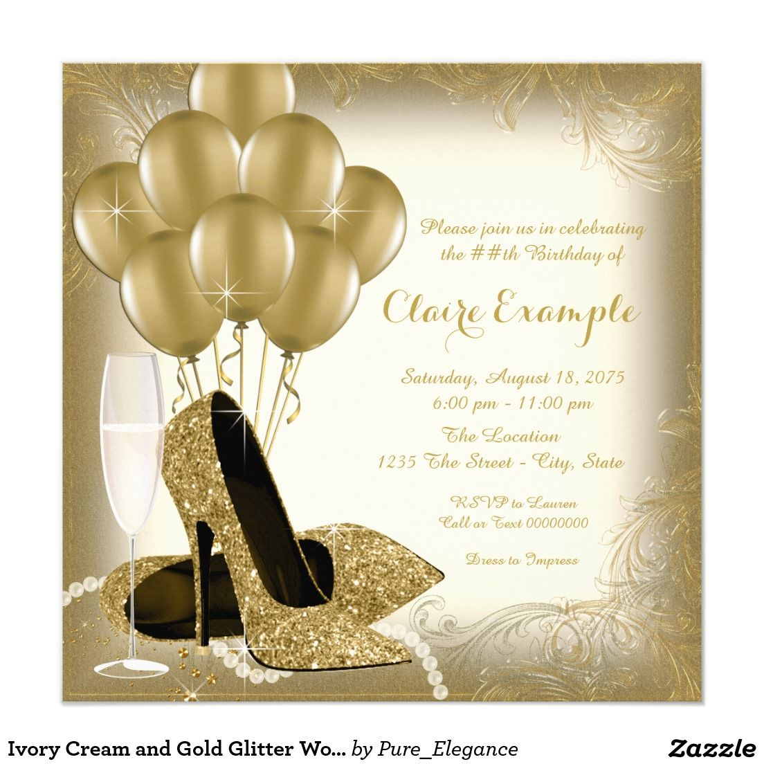 wording ideas forst birthday party invitation%0A Glitter Birthday Party Invitations Ivory Cream and Gold Glitter Womans Birthday  Party Card