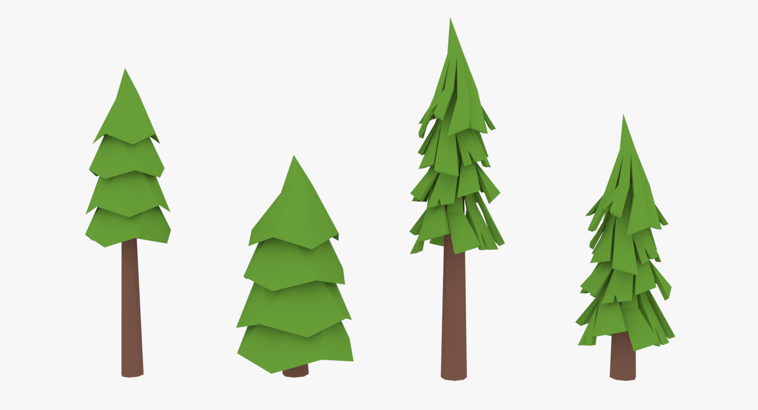 Lowpoly Pine Trees2 Tree Decorations Color Palette Pine