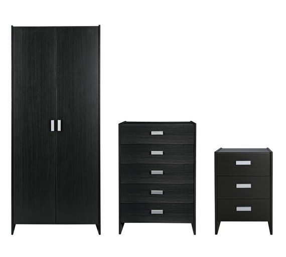 buy home new capella 3 piece 2 door wardrobe package black at rh pinterest co uk