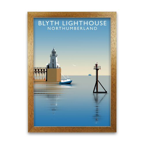 Photo of Gerahmter Grafikdruck Blyth Lighthouse Northumberland von Richard O'Neill Corrigan Studio Rahmenart: Honigfarbene Eiche, Größe: 59,4 cm H x 42 cm B
