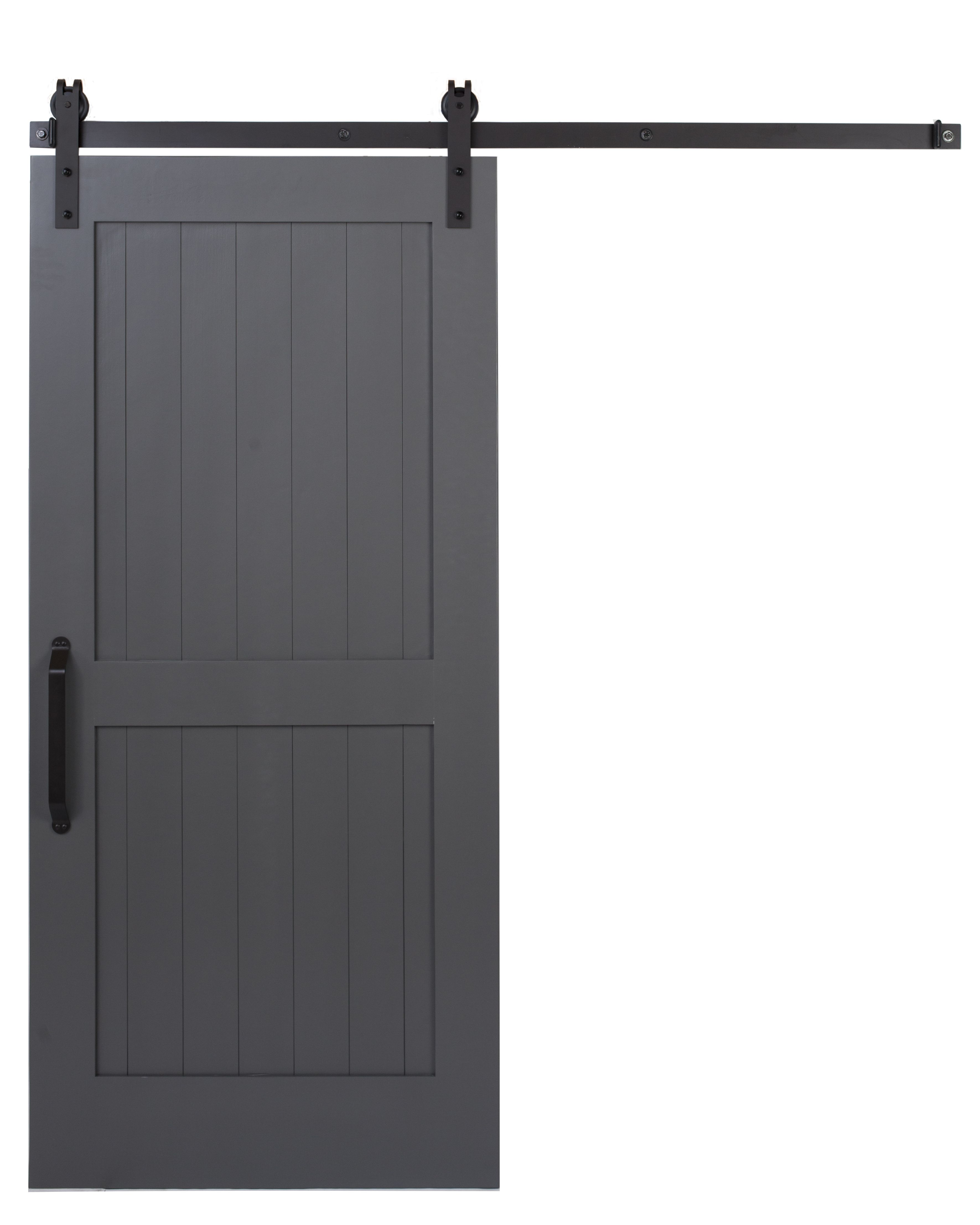 gunmetal gray two panel sliding barn door by rustica hardware