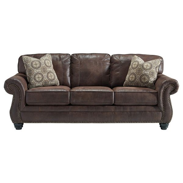 signature design by ashley breville espresso sofa ashley furniture sofasliving room