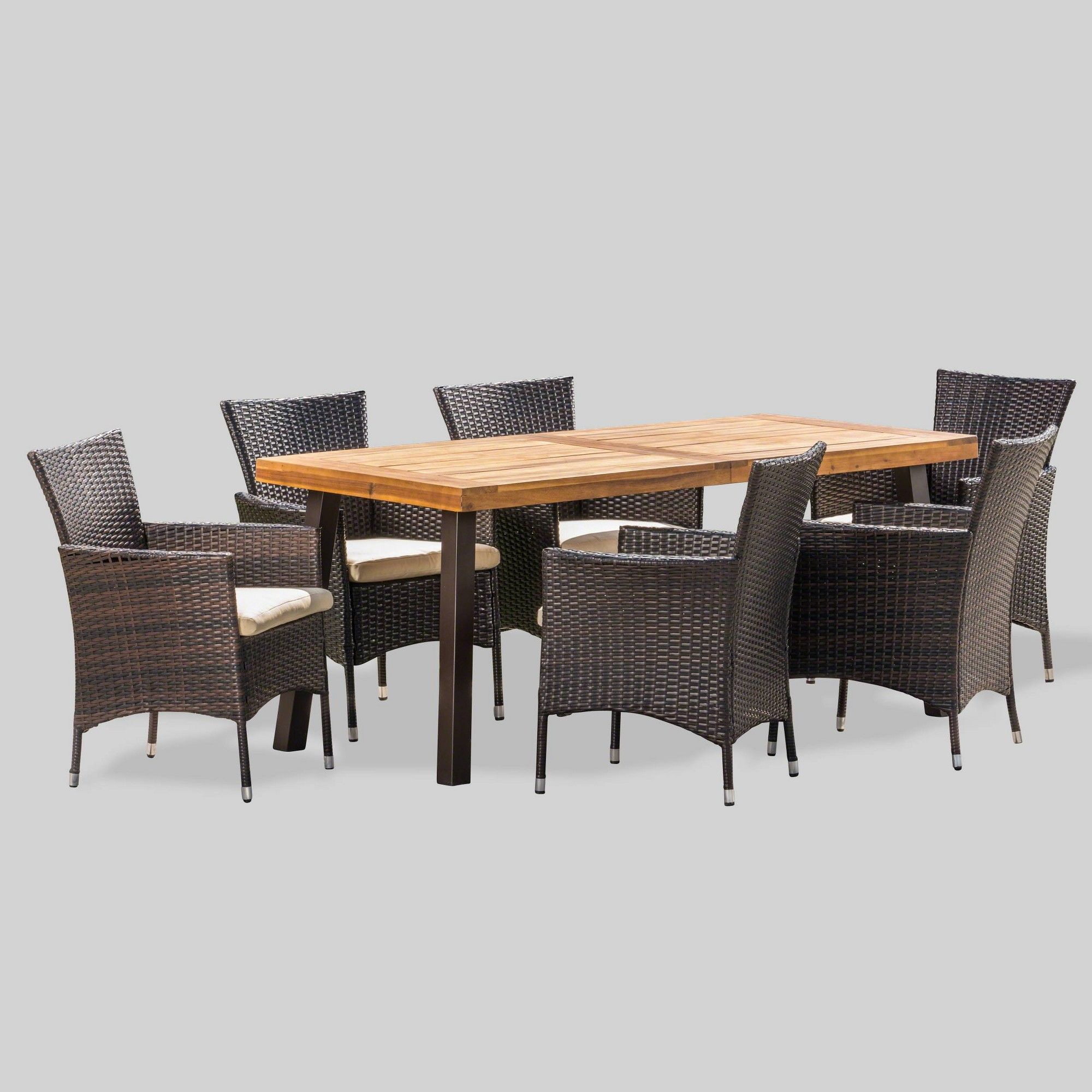 tustin 7pc acacia wood and wicker dining set brown beige rh pinterest com