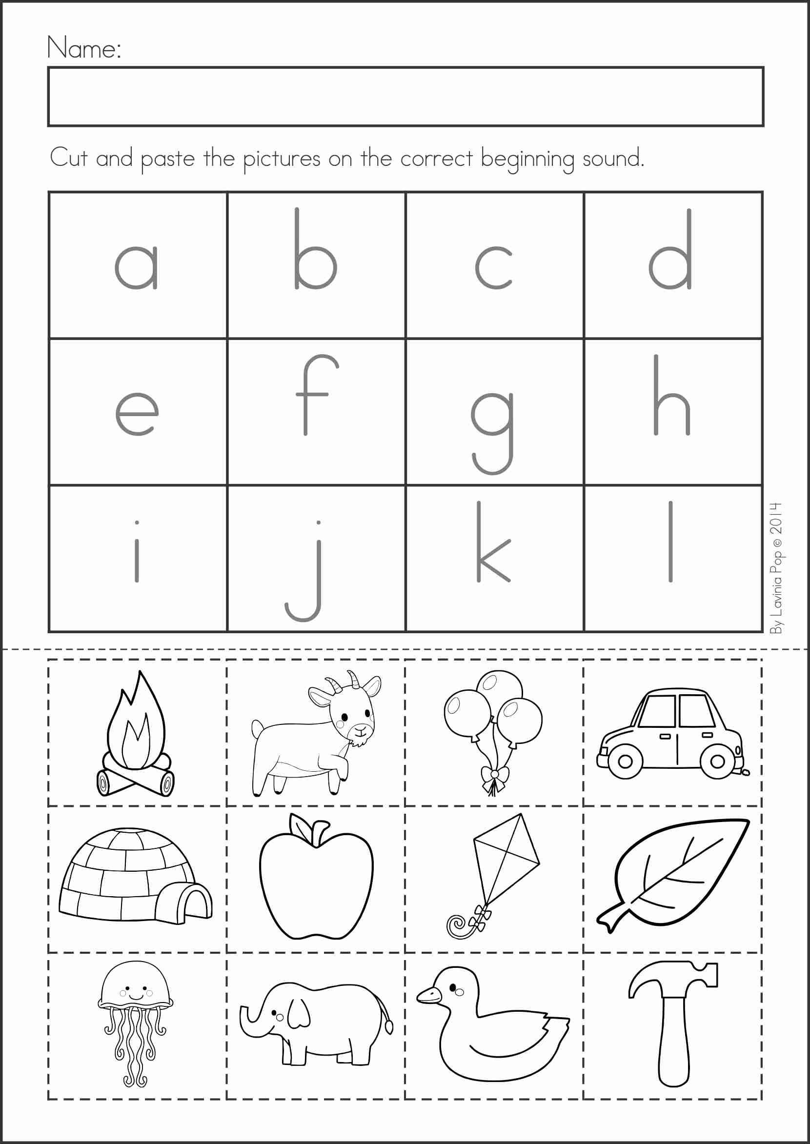 Beginning Sounds – Kindergarten Worksheets Cut and Paste