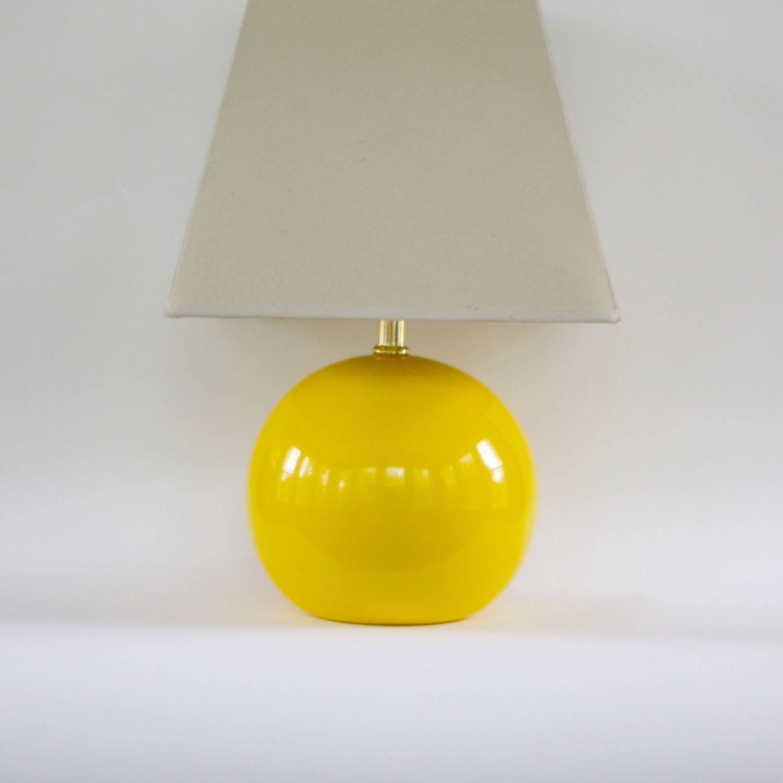 Vintage Modern Yellow Lamp Table Pantone Freesia Fall Autumn Decor Ceramic Orb Round Retro Lighting Happy
