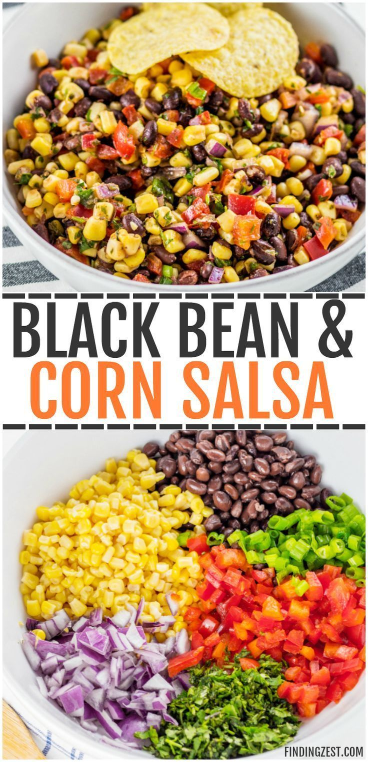 This homemade Black Bean Corn Salsa is sure to be a hit with any crowd! Kick up the flavor to your dinner recipes by serving it as a side dish or as topping to fish, chicken or your favorite Mexican dishes. It also makes for an easy appetizer when served with tortilla chips that everyone will love. #salsa #blackbeans #corn #mexican #tacos #snacks #vegetarian #veggies #mexicanfoodrecipes #Bohnen mais #mexicanchickentacos