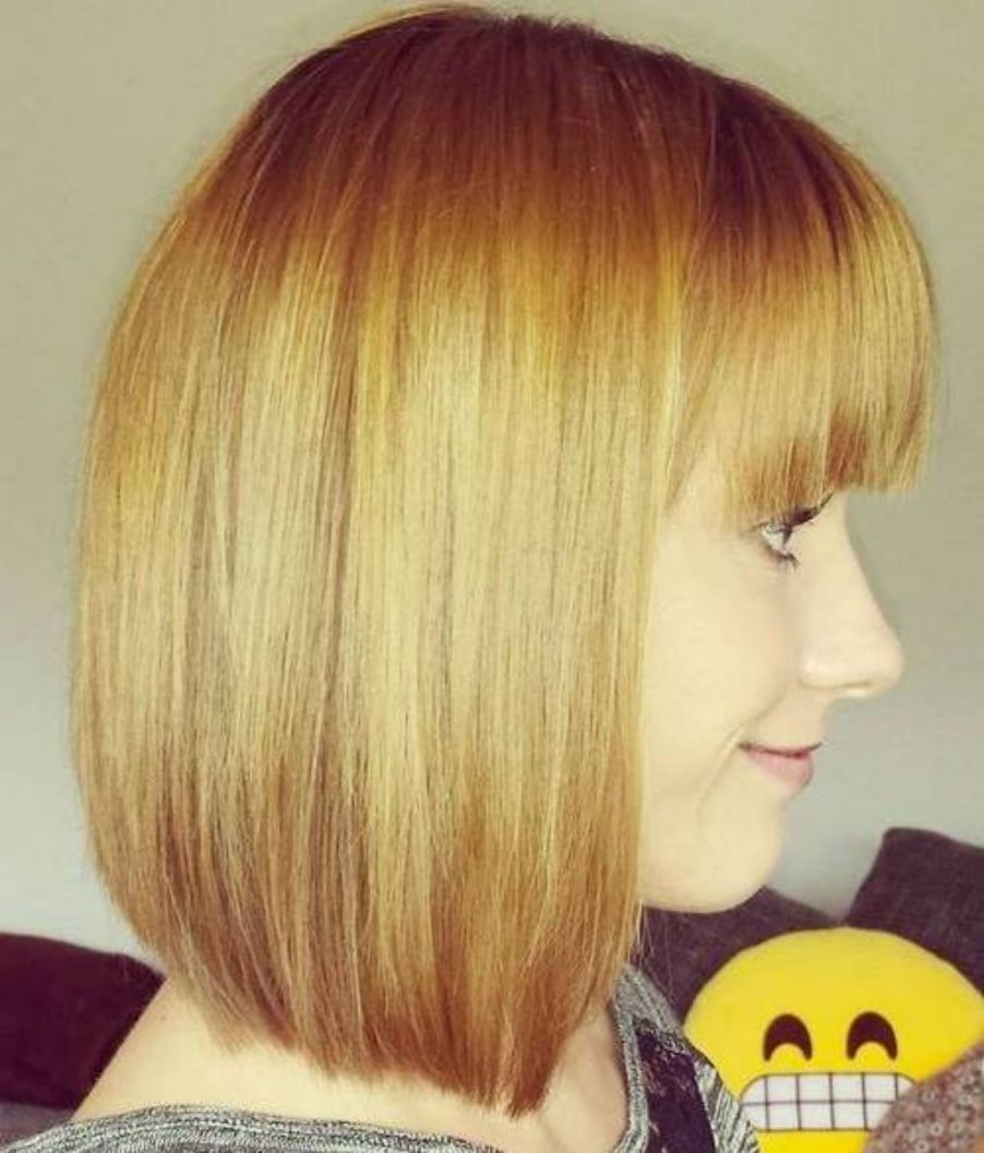 Blunt Golden Bob With Bangs Straight Hairstyles Fine Straight Hair Thin Straight Hair