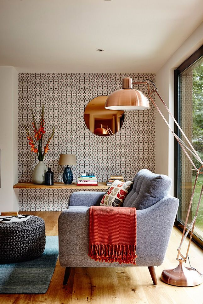 burnt orange teal copper and geometric wallpaper