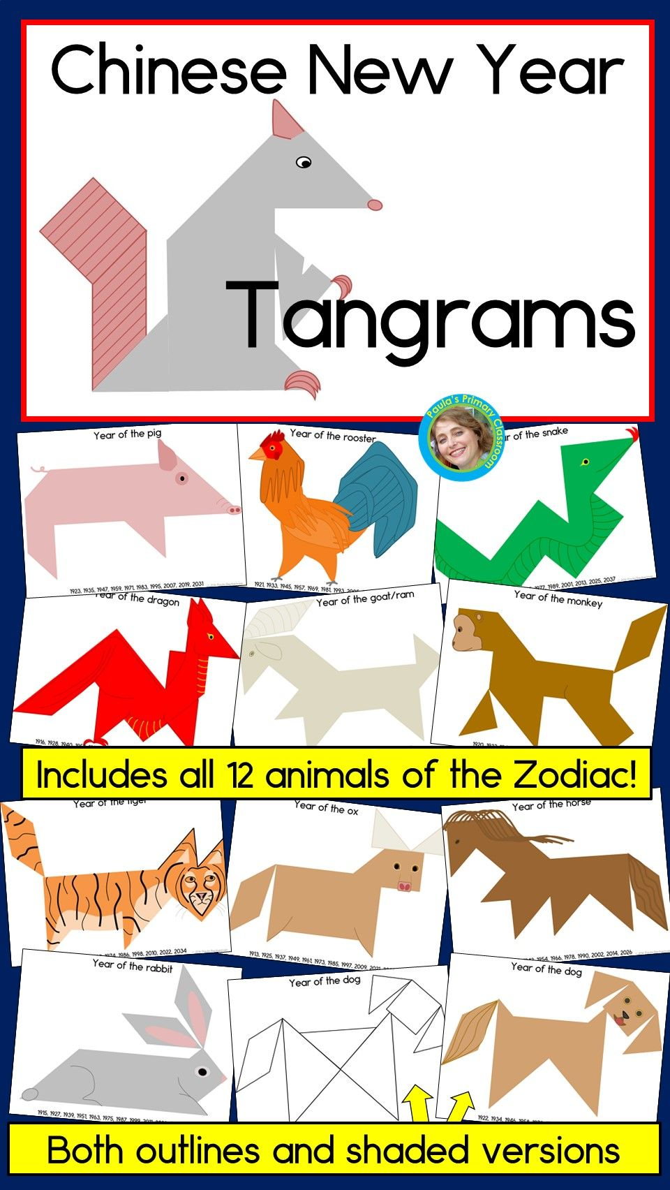 Chinese New Year 2020 Tangram puzzles 2D shapes center