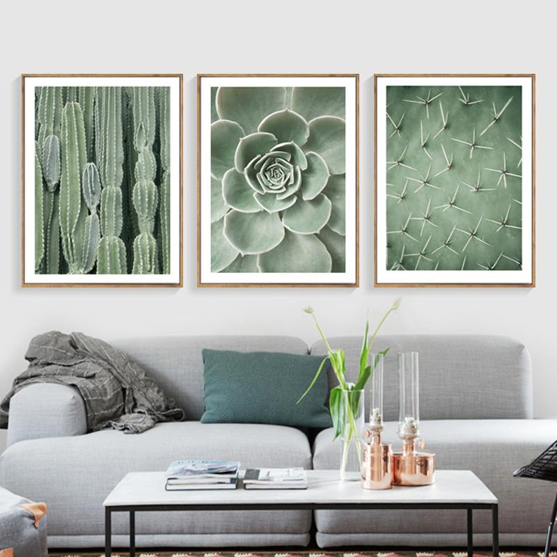 living room art prints%0A Nordic Green Cactus Posters And Prints for Wall