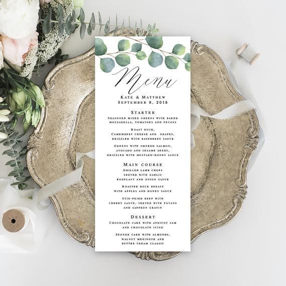 Eucalyptus menu template pdf Greenery wedding menu Eucalyptus wedding menu Bohemian shower menu Menu download Greenery table decor #vm171 #weddingmenutemplate