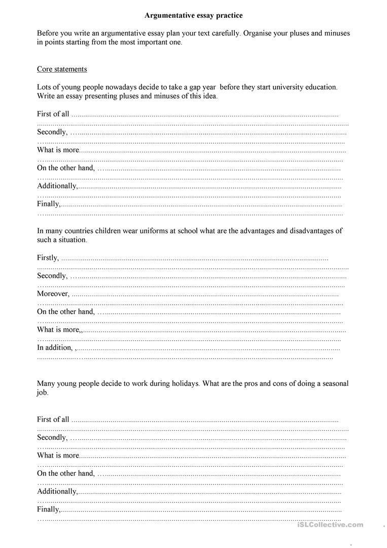 argumentative essay English ESL Worksheets in 2020