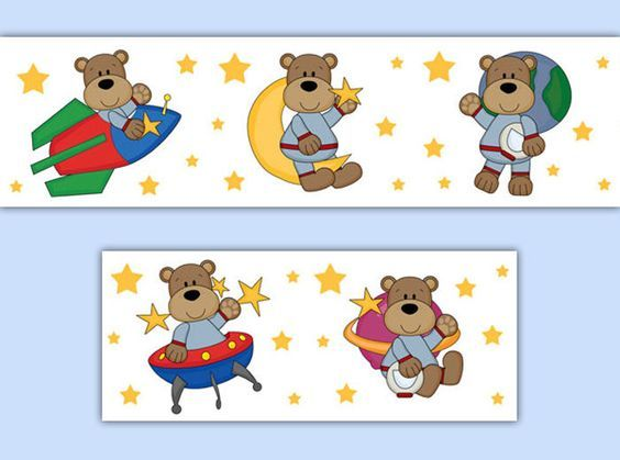 astronaut teddy bears wallpaper wall border decals outer space baby