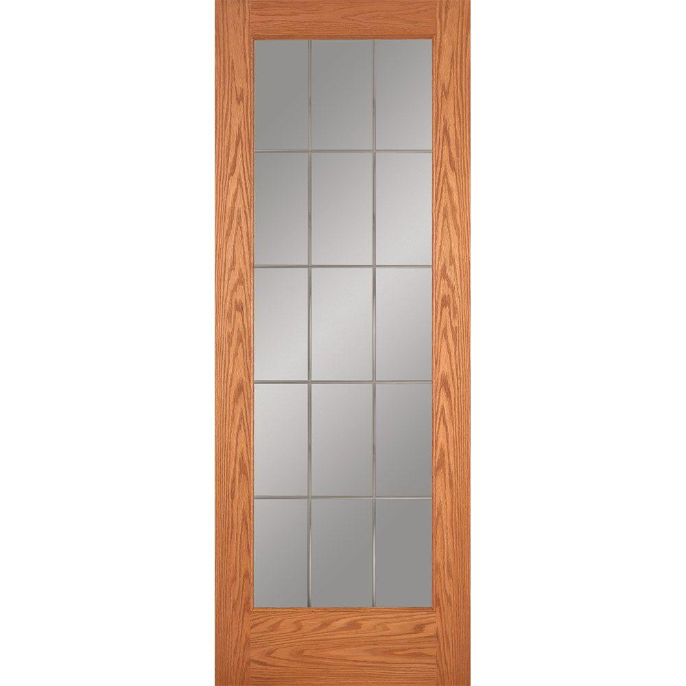 Feather River Doors 28 In X 80 In 15 Lite Illusions Woodgrain Unfinished Oak Interior Door Slab Red Oak Ready To Stain Oak Interior Doors Pine Interior Doors Solid Doors