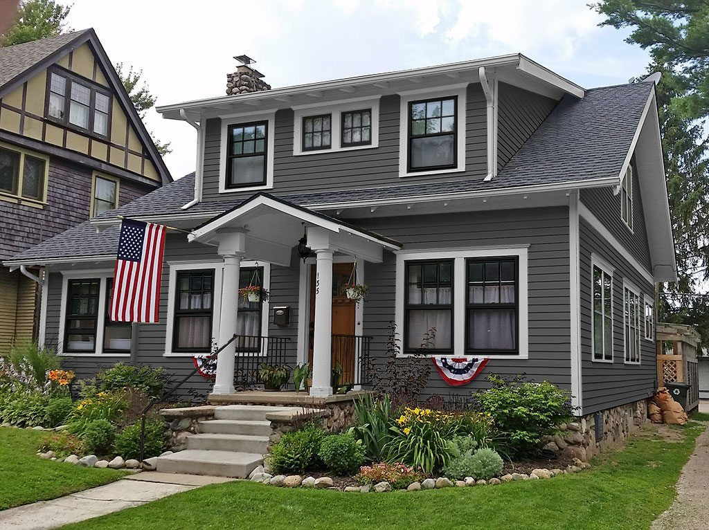 Paint color ideas craftsman home with charcoal gray for Craftsman home windows
