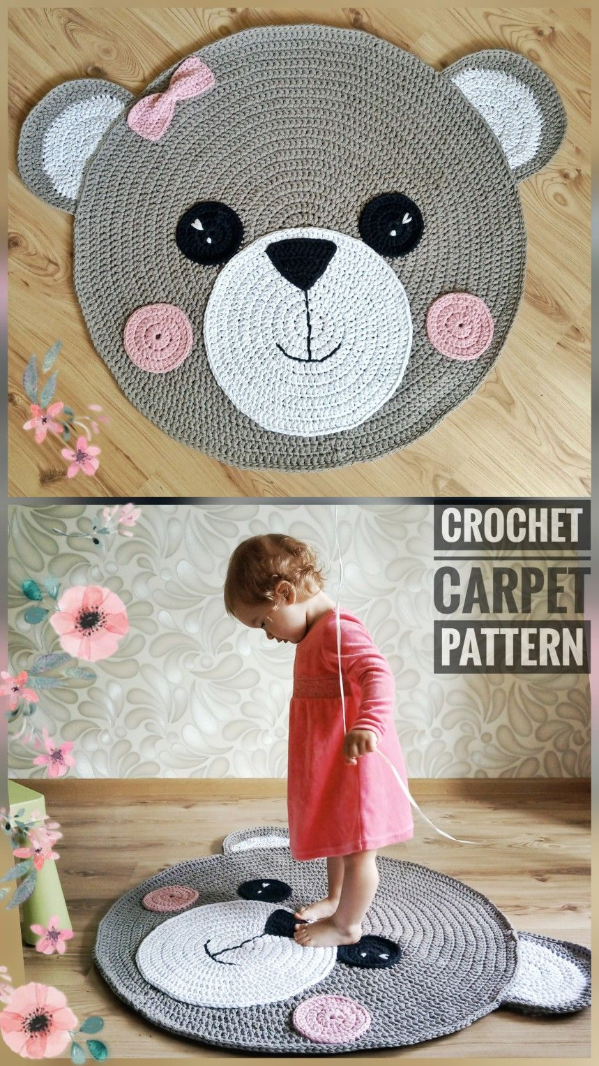 Crochet Rug Pattern - Carpet Teddy Bear - Crochet Teddy Bear-  Crochet Bear Pattern - Handmade Rug  #crochetbearpatterns