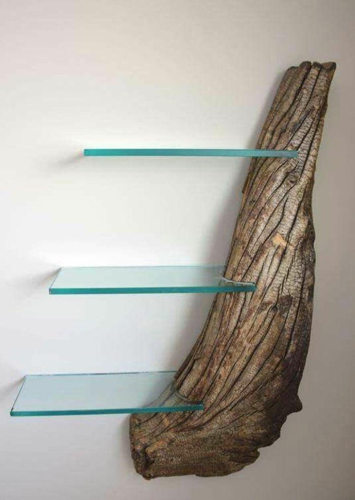 Regal selber bauen wandregal aus holzst ck und glas diy kreative idee wandgestaltung - Diy wandgestaltung ...