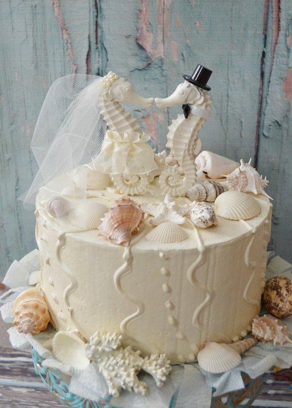 Seahorse Wedding Cake Topper Ivory Seahorse Beach Wedding Beach