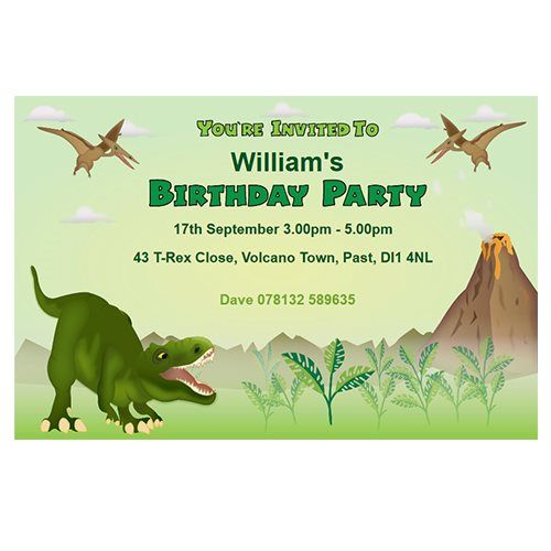 Dinosaur themed personalised party invitations invitaciones