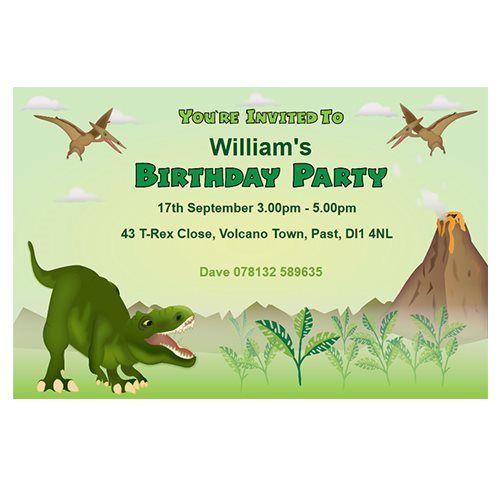 dinosaur themed personalised party invitations. | invitaciones, Birthday invitations
