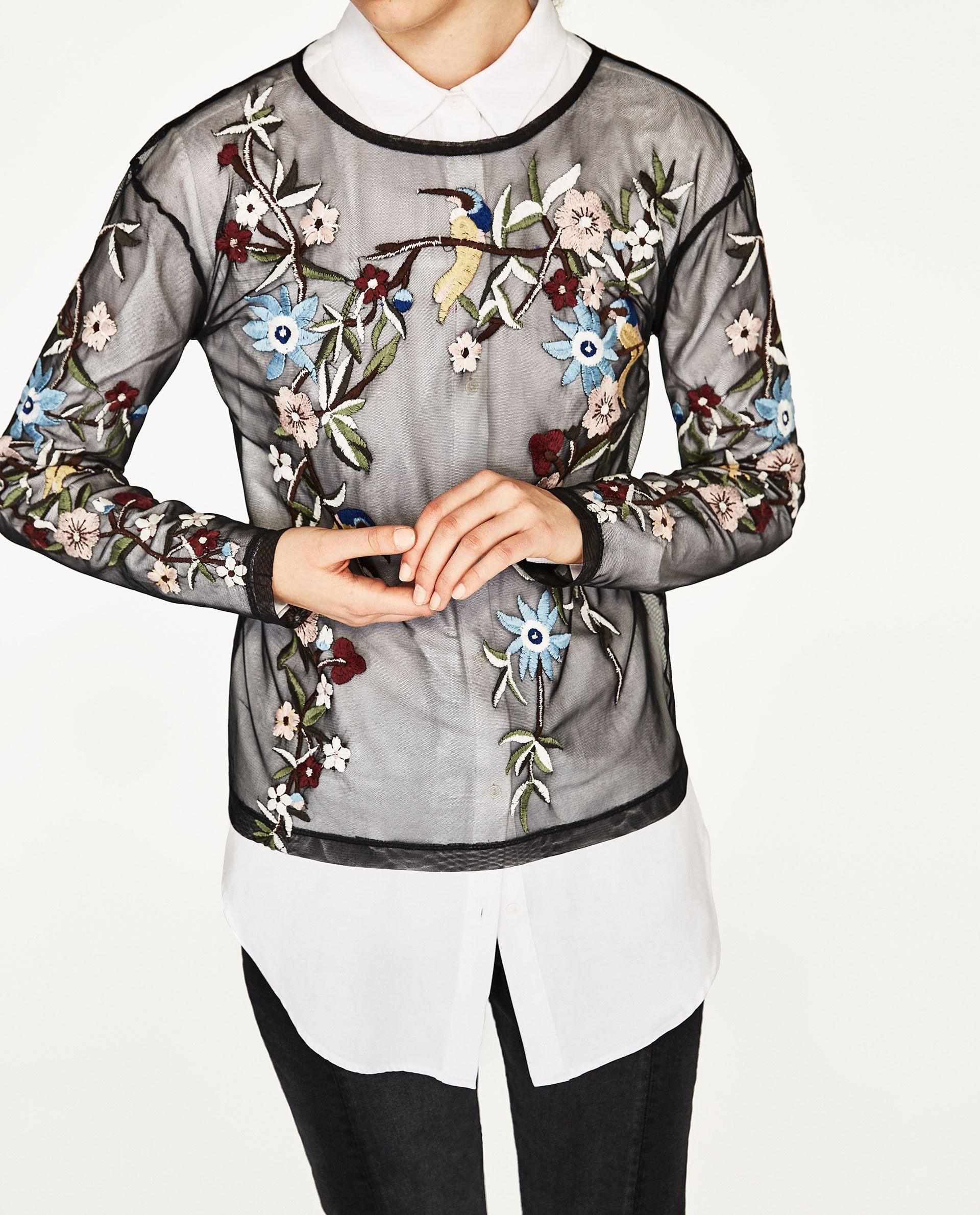 Embroidered tulle t shirt zara pinterest