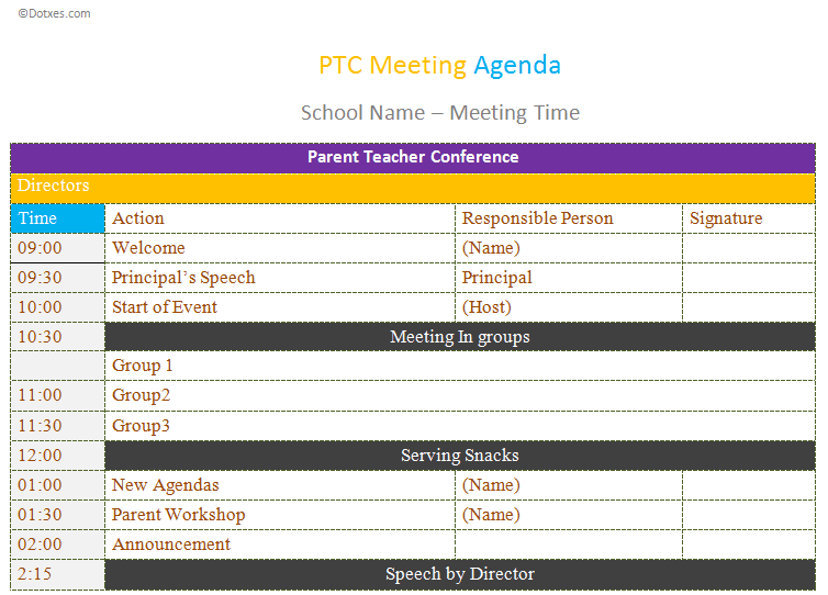 Use Ptc Meeting Agenda Template To Make Your Communications Better