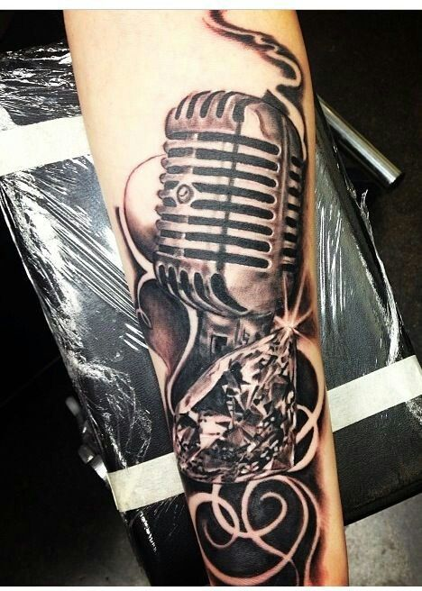 diamond and an old school microphone tattoos body modification rh pinterest com au vintage microphone tattoo old fashioned microphone tattoo