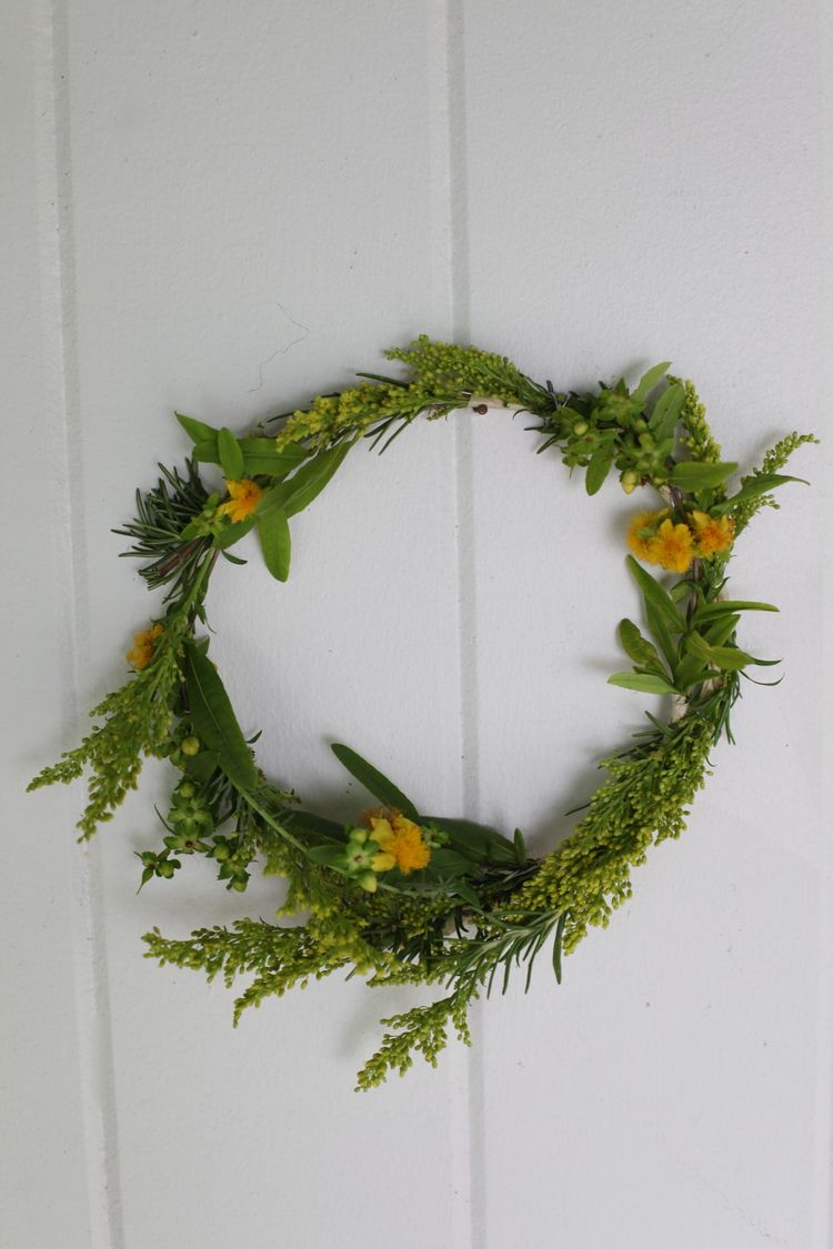 Floral Crown: St. John's Wort, Rosemary, Aster Solidago, and Donkey Tail by Maggie Pate of inks+thread