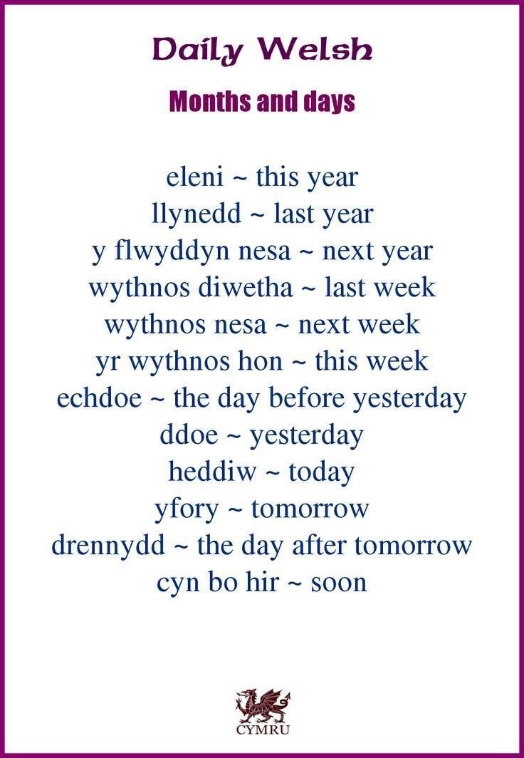 Welsh - months and days | Wales | Pinterest | Welsh, Wales and Cymru