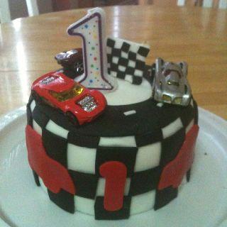 Matchbox car first birthday cake