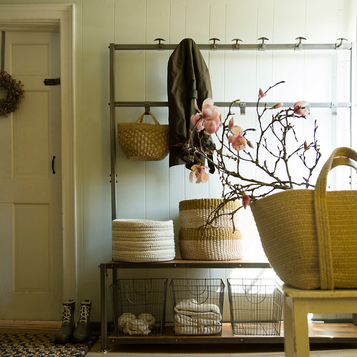 a clean simple mud room Square Wire