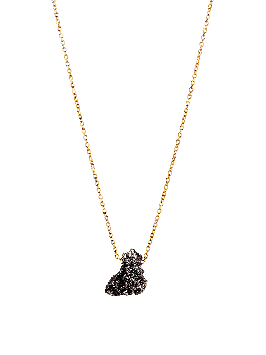 Avindy black druzy nugget necklace black spinel brass chain and