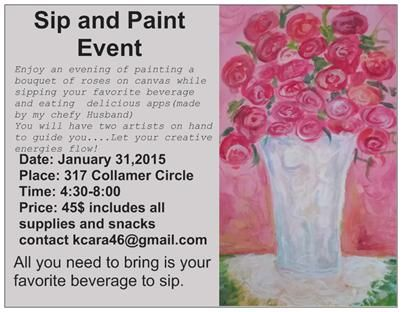 Sip and paint and create a bouquet of roses