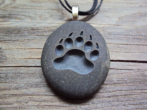 Bear Paw Engraved Pendant Bear Claw Pendant Symbol Of Etsy Bear Carving Stone Engraving Stone Carving