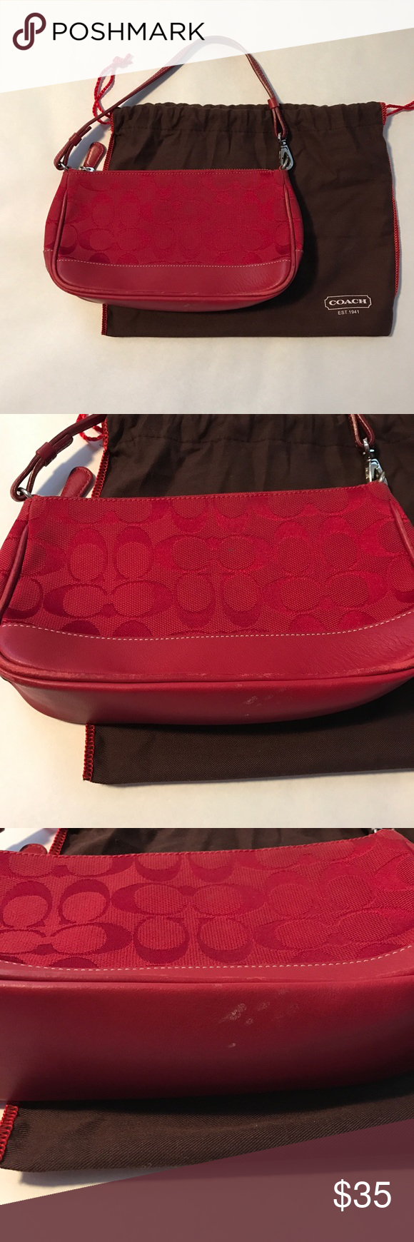 """Coach Signature Canvas Wristlet Coach classic! Approximately 8.5"""" x 2"""" x 5"""". Perfect for your essentials! Signature canvas with a leather bottom and handle in a rich red hue. Features silver hardware, a zip top, one interior pocket and includes original dust bag. One small spot on front of canvas and little wear around leather piping and bottom of the purse (please see photos). Coach Bags Mini Bags"""