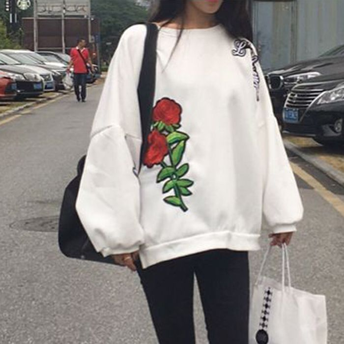 big red roses embroidery sweatshirt women tops autumn winter oversize loose  shirt pullovers sudaderas mujer sweat