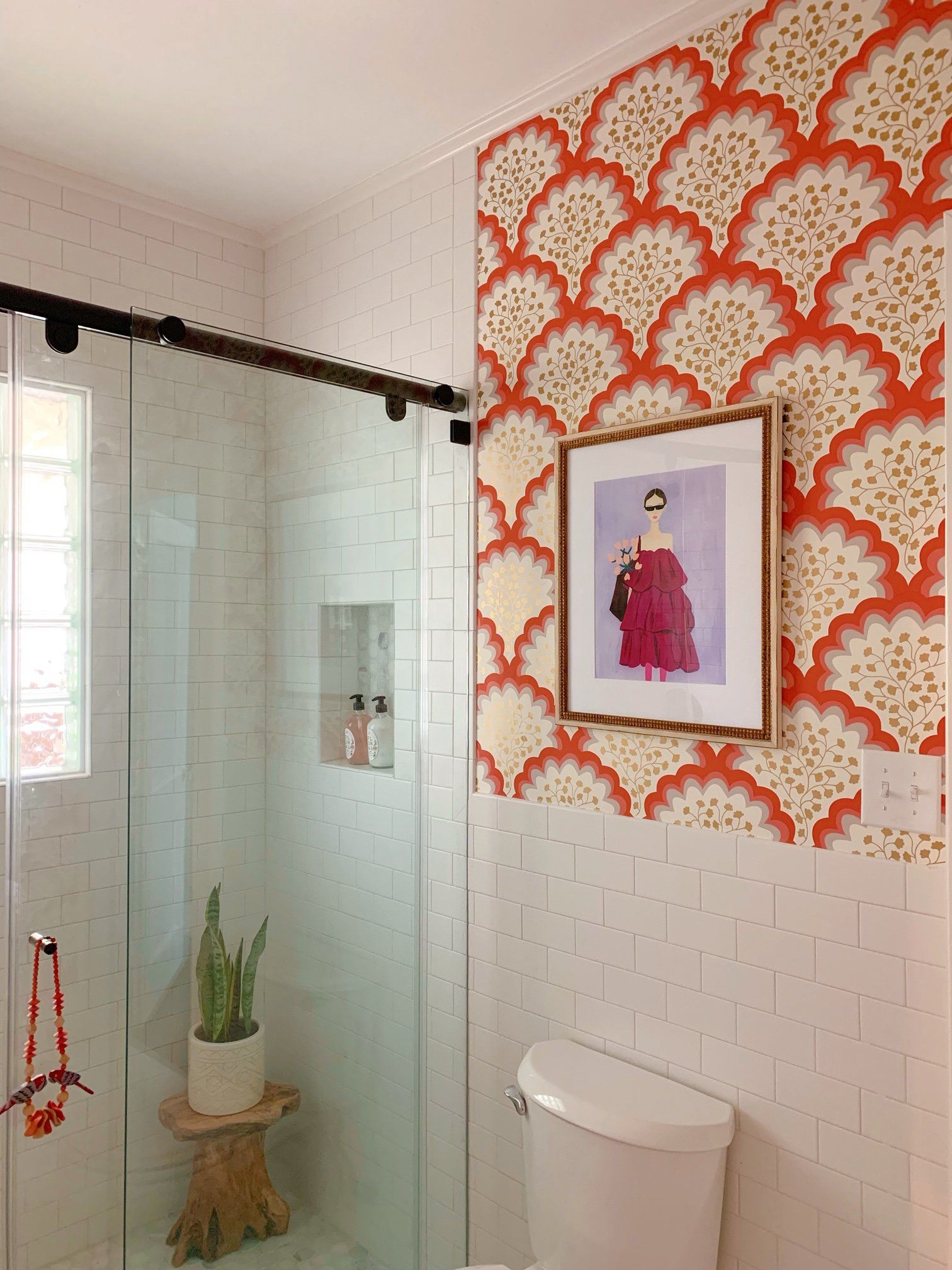 A Tale Of Two Bathroom Before Afters Hygge West Bathroom Wallpaper Green Coral Wallpaper Bathroom Wallpaper